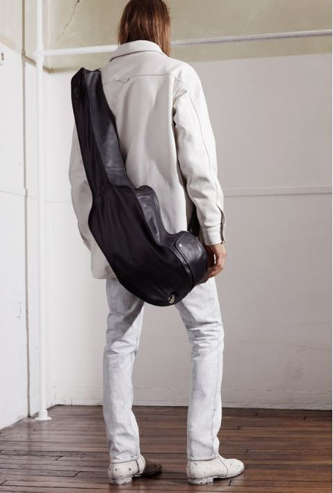 Maison Martin Margiela for HM, White leather jacket, guitar bag, white painted trousers, white painted boots, men's fashion, great design, style, fashion, interesting bag