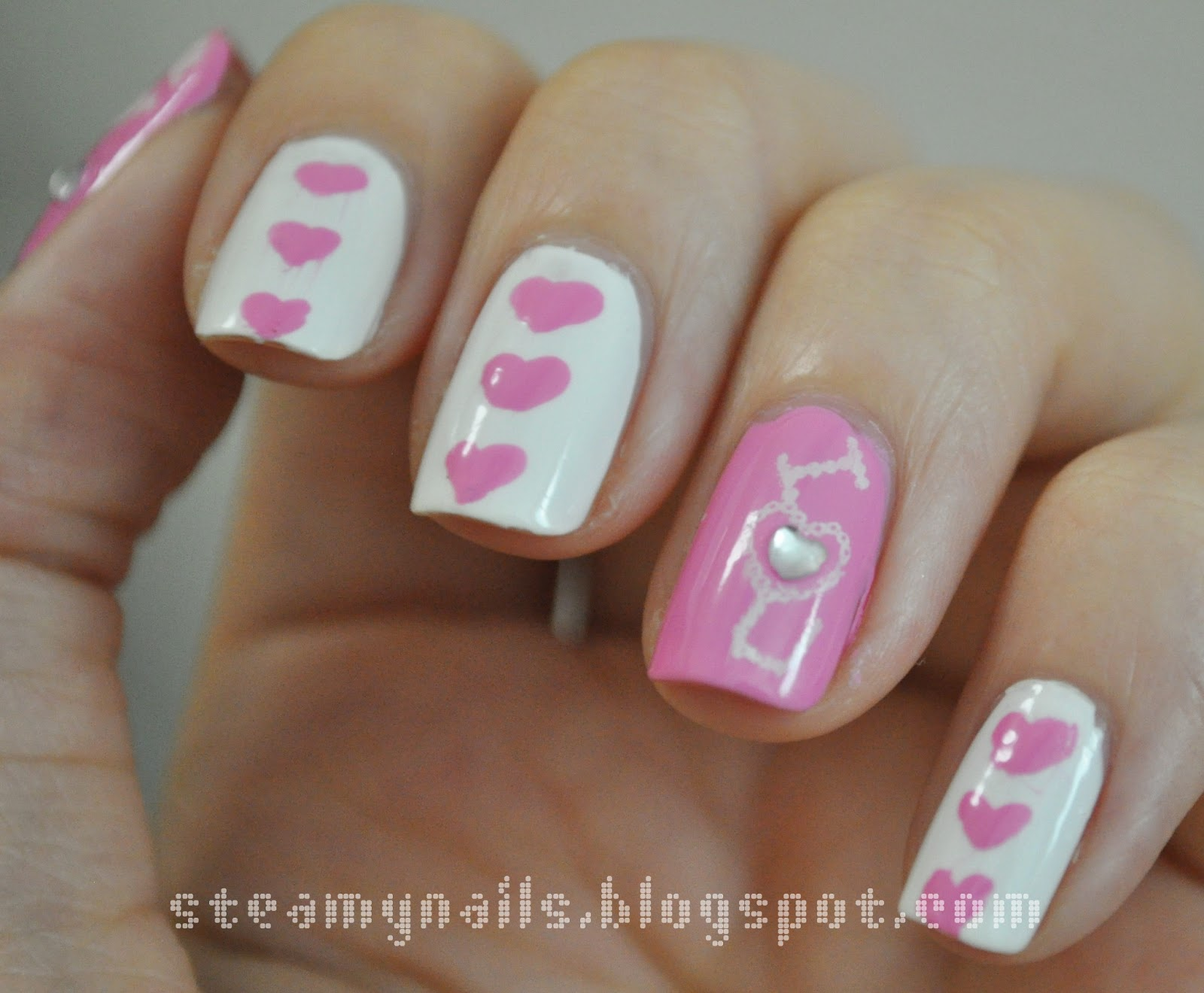 Steamy Nails Hearts And Kisses Valentines Day Nail Art D