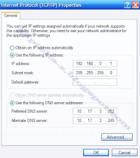 Gambar Setting IP untuk Sharing Koneksi