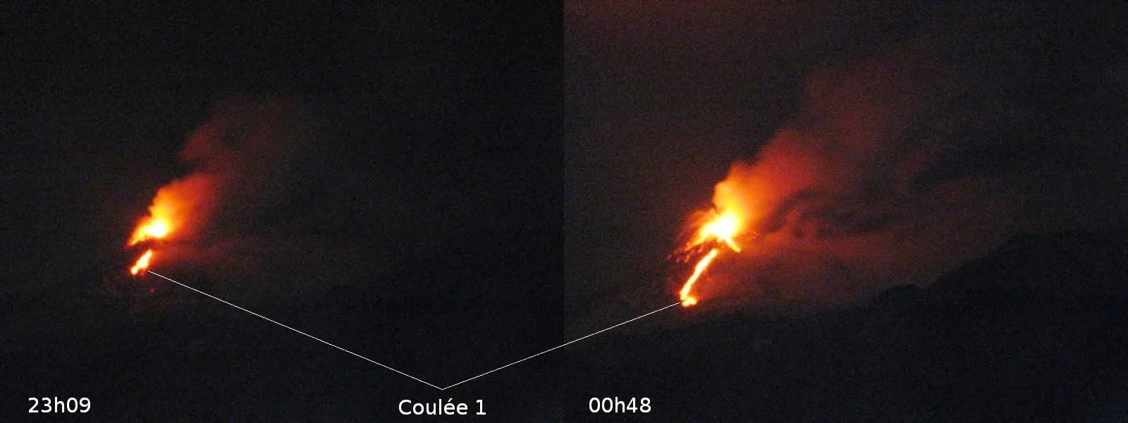 Coulées du 21eme paroxysme du volcan Etna, étape 1