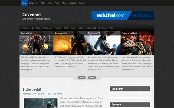Free Jquery Grunge Games Black Wordpress Theme