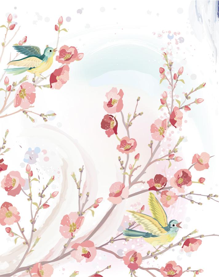 美しい花と鳥の水彩画 flowers and birds background イラスト素材