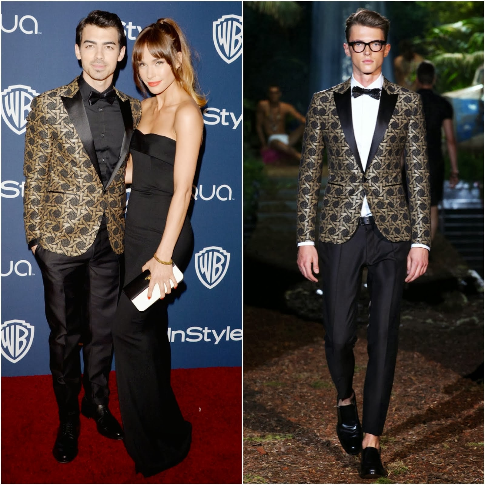 Joe Jonas in DSQUARED² TOKYO EMBROIDERED COTTON EVENING JACKET - InStyle/Warner Bros. Golden Globes Party 2014