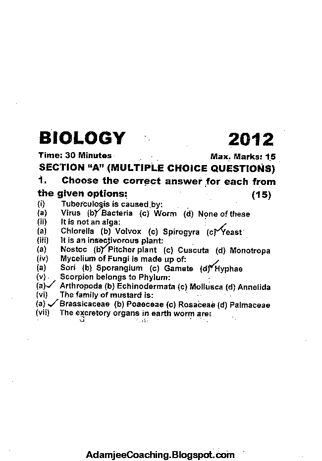 Biology Past Year Paper 2012