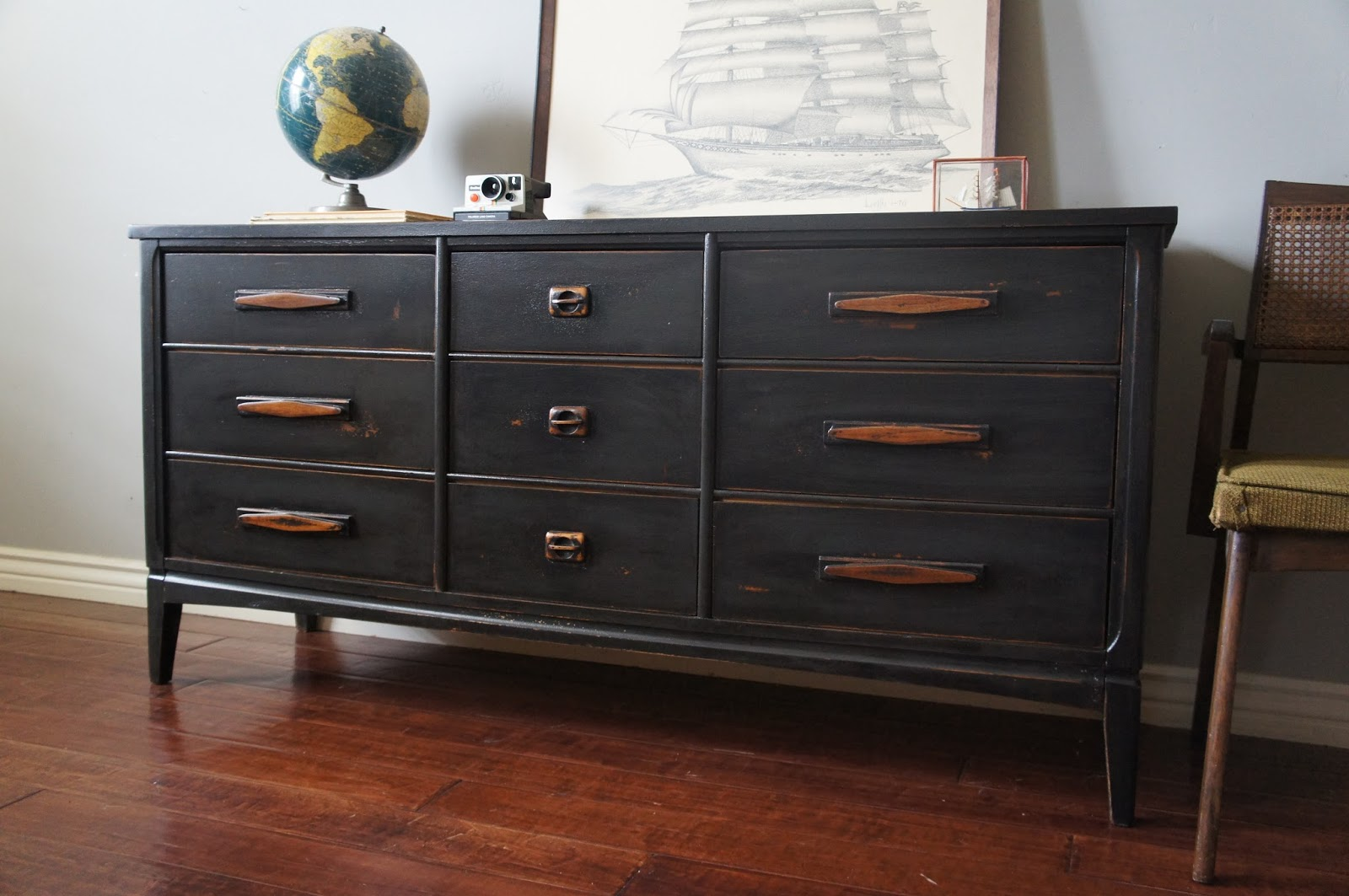 European paint finishes mid century graphite distressed dresser for How to paint my bedroom furniture