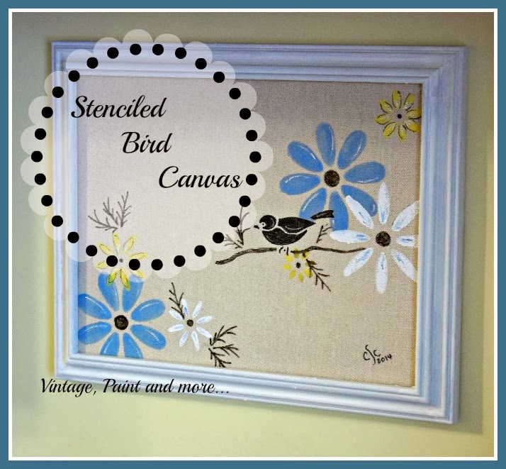 Stenciled Canvas - title image of stenciled flowers and bird on thrifted canvas