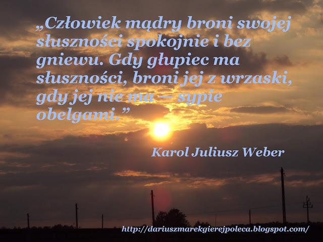 """""""Człowiek mądry broni swojej słuszności spokojnie i bez gniewu. Gdy głupiec ma słuszności, broni jej z wrzaski, gdy jej nie ma — sypie obelgami.""""  Karol Juliusz Weber"""