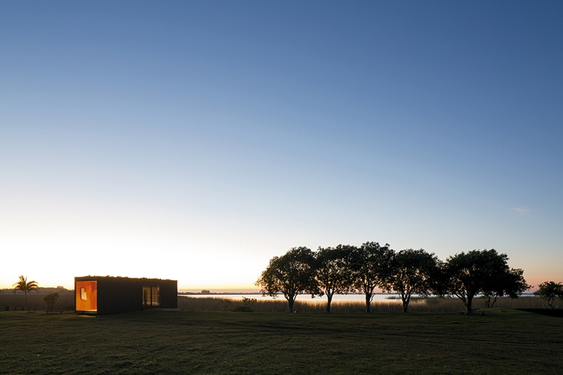 Container house and sunset