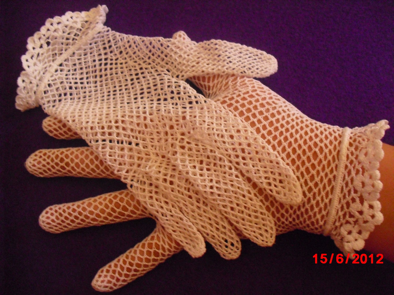 guantes crochet para boda o comunion | ROJO MELON