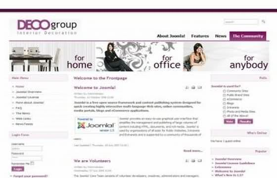 Free Pink Interior Design Joomla Theme Template