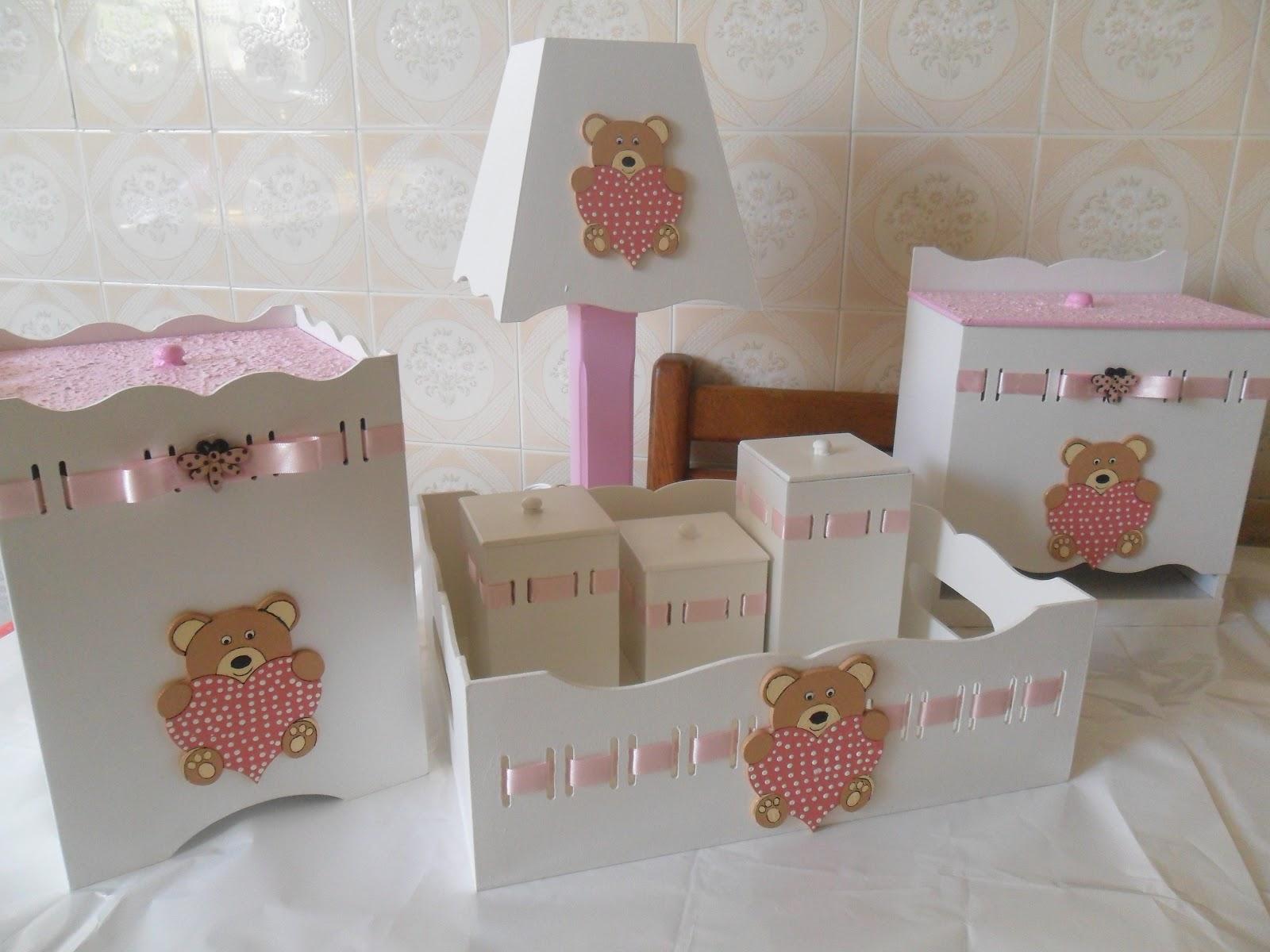 Leka Doces E Lembrancinhas Kit Para Bebe Ursa Rosa ~ Abajur Para Quarto De Bebe Feminino