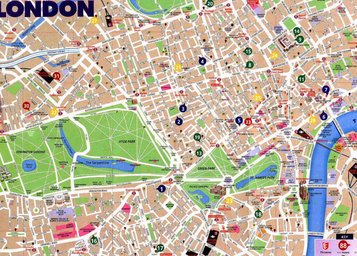Street Map of London City for tourists
