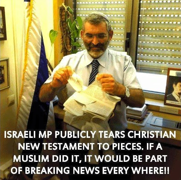 Israeli MP tearing New Testament to pieces