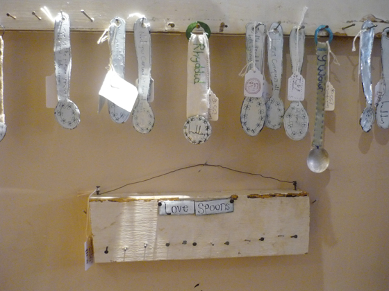 buddug love spoons hanging on display