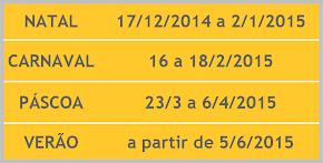 CALENDÁRIO FÉRIAS 2014/2015
