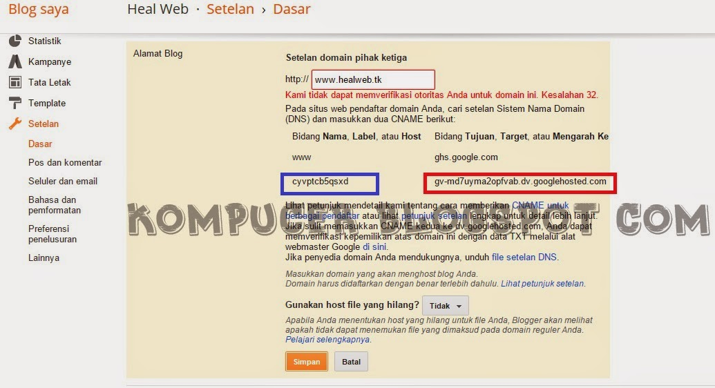 Cara Setting Domain Blogspot Ke Dot TK 2015