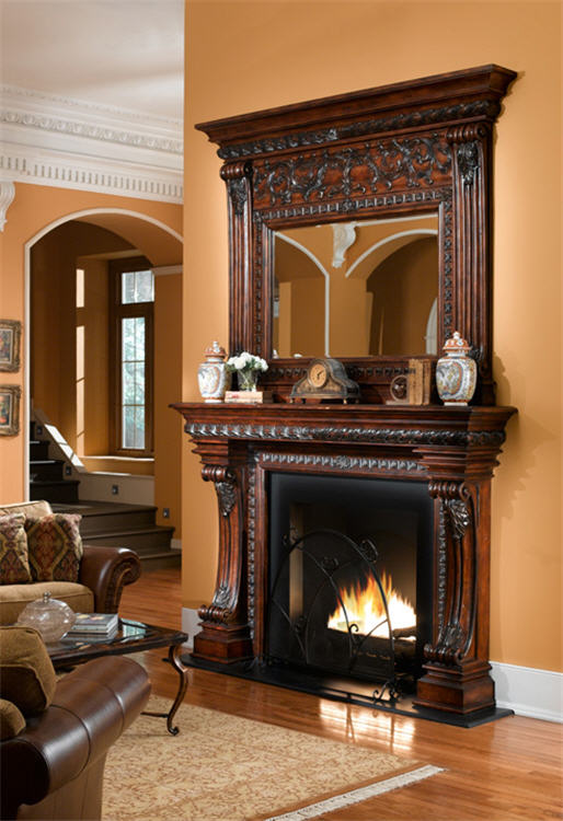 Old world gothic and victorian interior design for Dark fireplace mantel