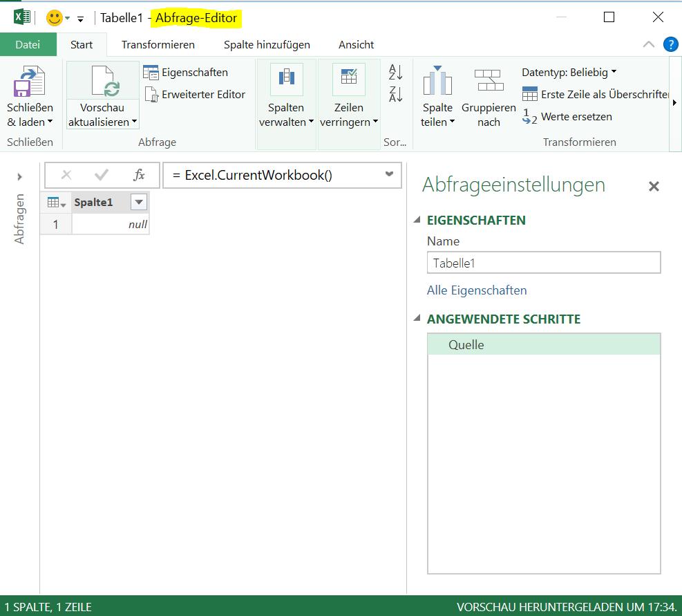 kurze Einführung in Excel Power Query | Excel im betrieblichen Umfeld