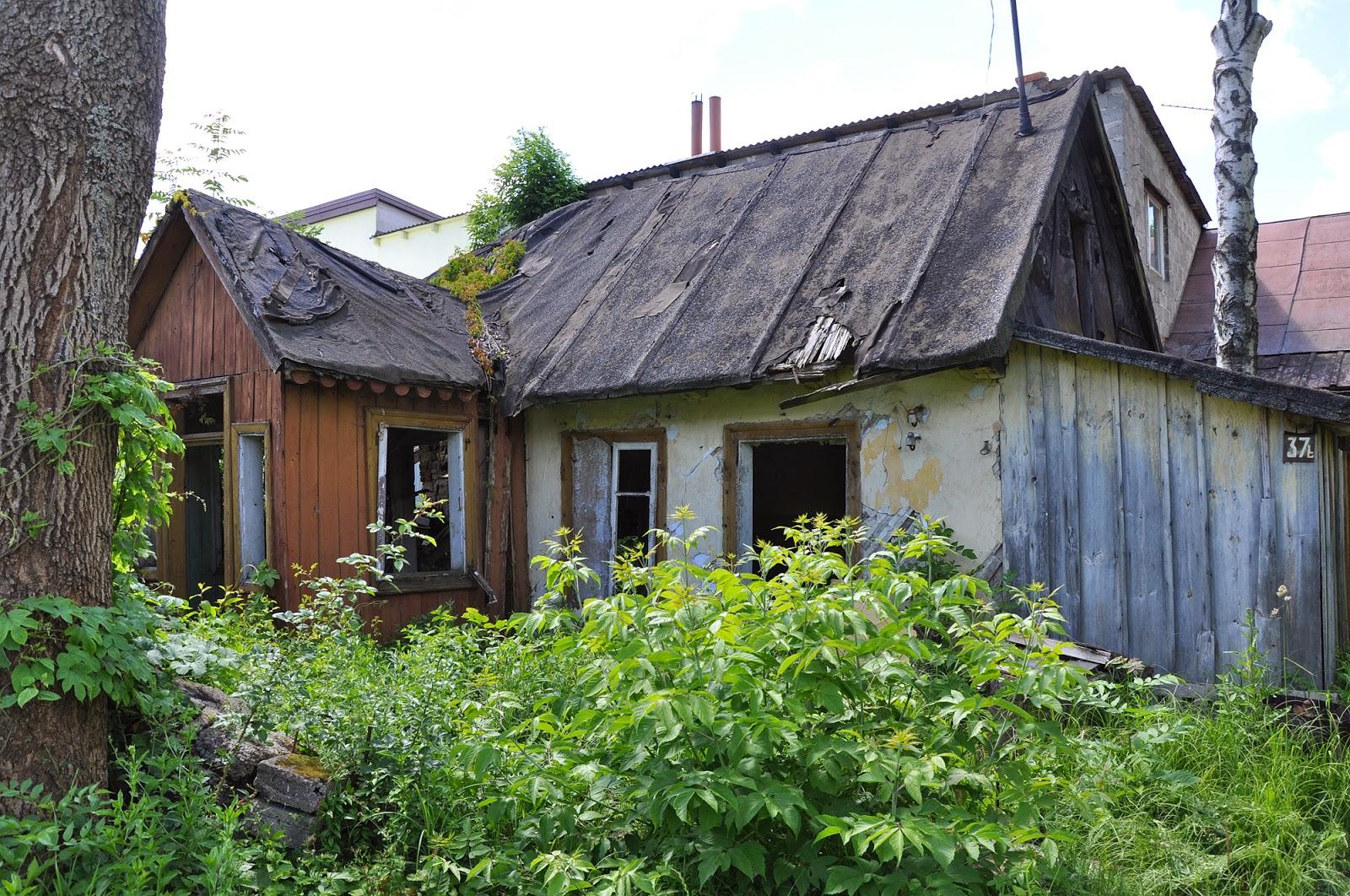 Końskie, ul. Gimnazjalna 37b. Opuszczony dom młynarza; znajdował się w południowej części posesji. Czerwiec 2014, foto. KW.