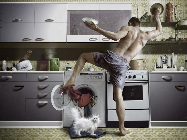Busy Man Wallpaper Funny Kitchen