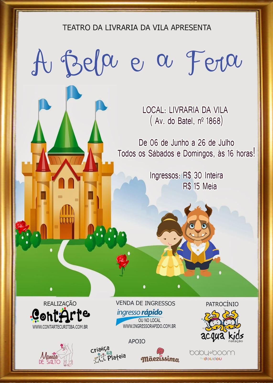 Espetáculo A Bela e a Fera, Livraria da Vila / reprodução divulgação internet
