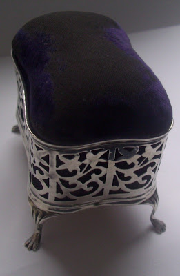 antique solid silver pin cushion / box birm 1906