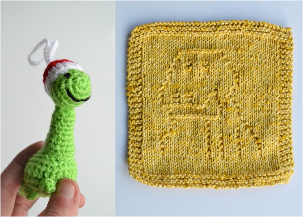 crochet dinosaur santa christmas decoration washcloth knitted gift secret santa