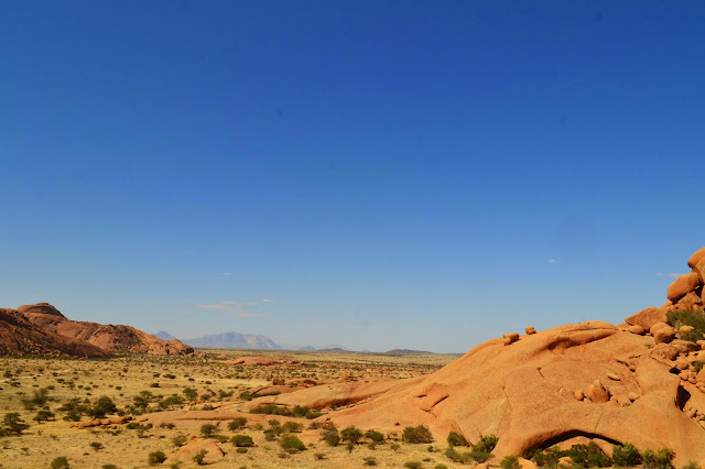 View from Spitzkoppe flat with mountains in distance