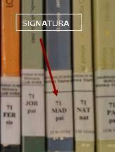 """tejuelo en el lomo de los libros con la """"signatura"""""""