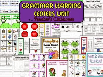 http://www.teacherspayteachers.com/Product/Grammar-Learning-Centers-Unit-from-Teachers-Clubhouse-501883