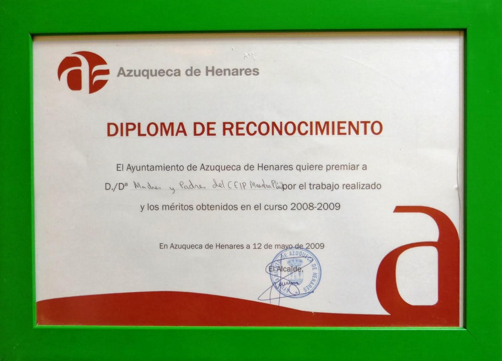Diploma de Reconociminto 2009