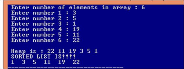 Heap Sort : Heap sort code output