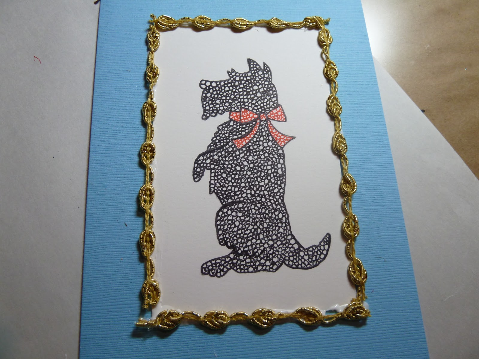 make it easy crafts doodle scottie dog greeting card. Black Bedroom Furniture Sets. Home Design Ideas