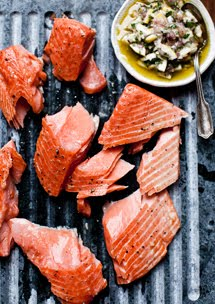 slow cooked salmon with meyer lemon relish