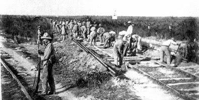 Construcción de la vía férrea en Cuba
