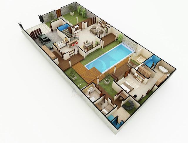 Desain Aksonometri Rumah Tinggal di Jogja