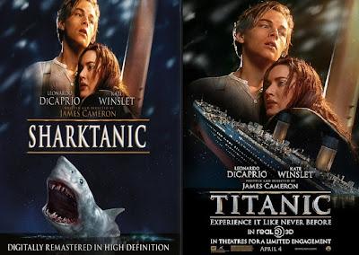 parodie affiches de films avec des requins titanic