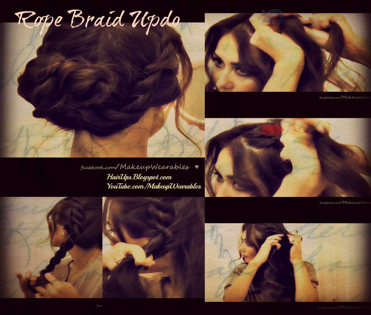 collage2 HOLIDAY HAIRSTYLES HAIR TUTORIAL | HOW TO FRENCH ROPE BRAID TWIST FOR MEDIUM LONG HAIR