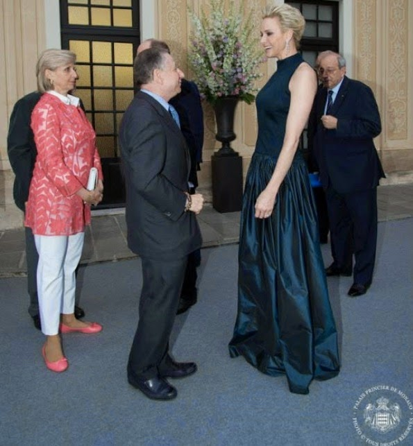 Prince Albert And Princess Charlene Hosted  A Cocktail Party