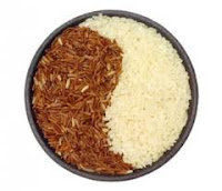 arroz, integral, alimento, blanco, ying-yang, alimento, ingrediente