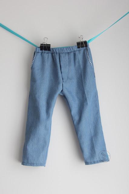 spodnie, jeans, dżins, wypustki, na gumce