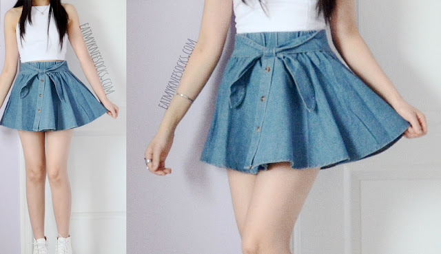 Yumart's Tokyo Fashion waist-bow denim skater skirt is perfect for summer, with a cute, Asian fashion style.