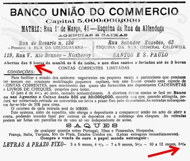 Banco União do Comércio - propaganda de 1908 - Santos e São Paulo.