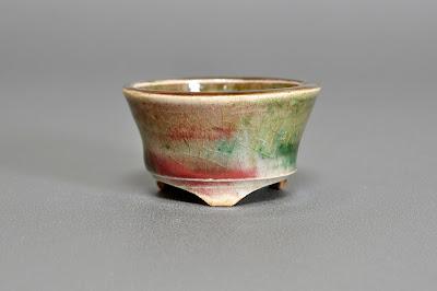 織部釉丸盆栽鉢(Oribe glaze bonsai pot)h2181
