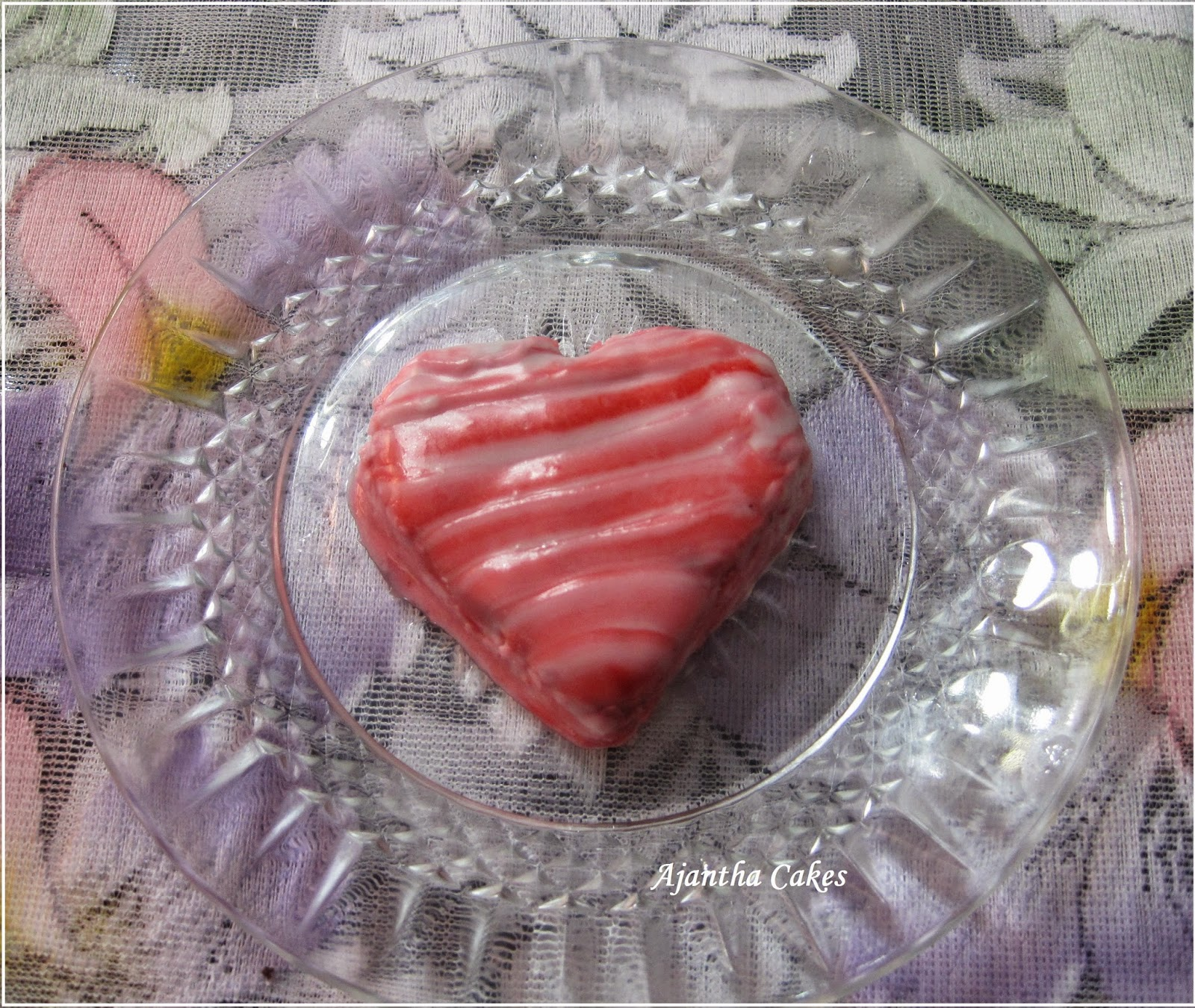 Ajantha Cakes/Heart shape cake with Royal Icing Heart Lattice