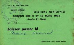 Laisser-passer Ville de Paris élections de mars 1983