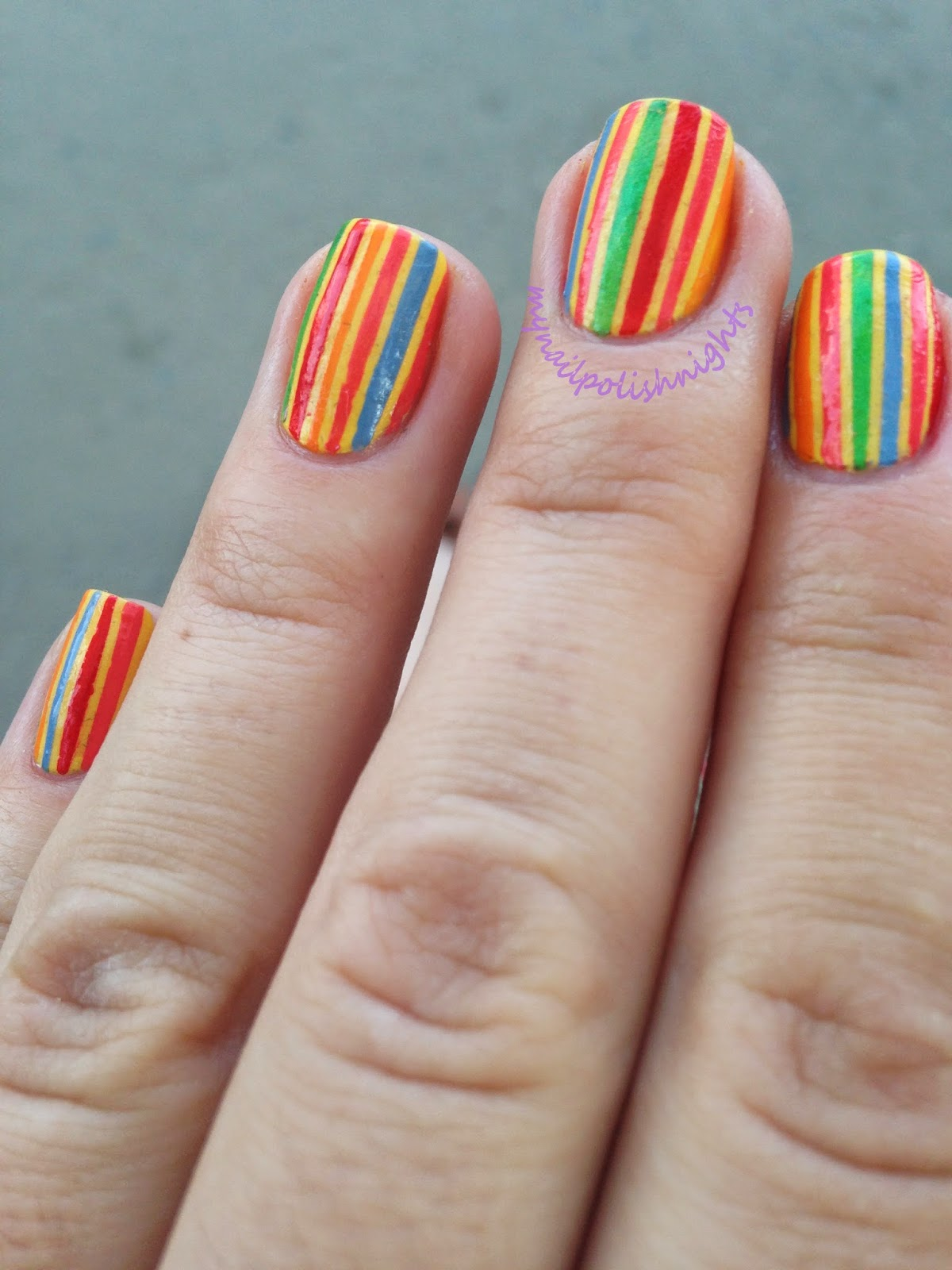 Striped towel nails