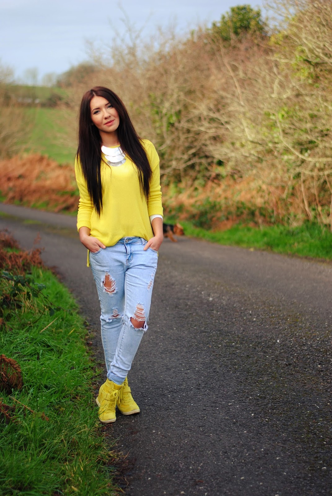 Neon and ripped jeans