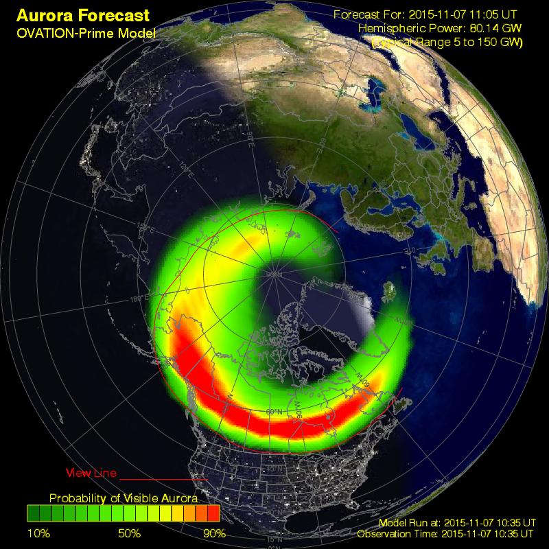 Owal zorzowy, prognoza według modelu OVATION, stan z 11:40 CET. (SWPC)