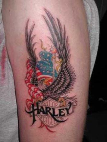 Motorcycle Tattoos Harley Davidson on American Eagle Tattoo Designs